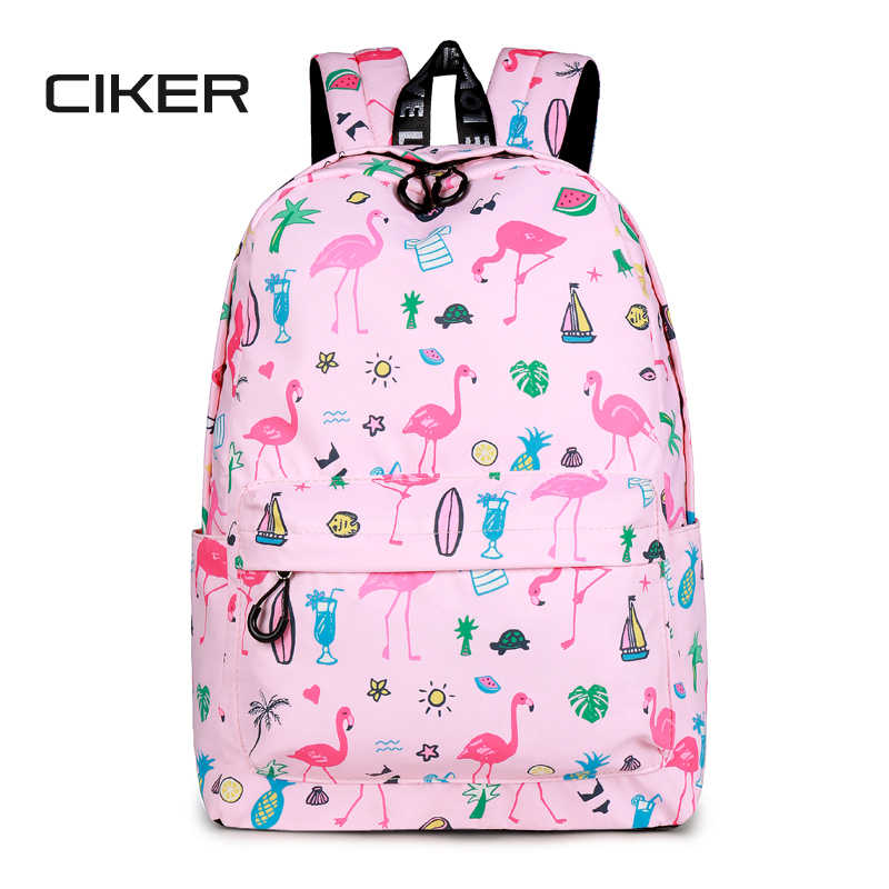 CIKER Designer Brand Women Cute Flamingo Printing School Backpack for  Teenage Girls Laptop Bags Kawaii Bookbag d5952eeaf76ef