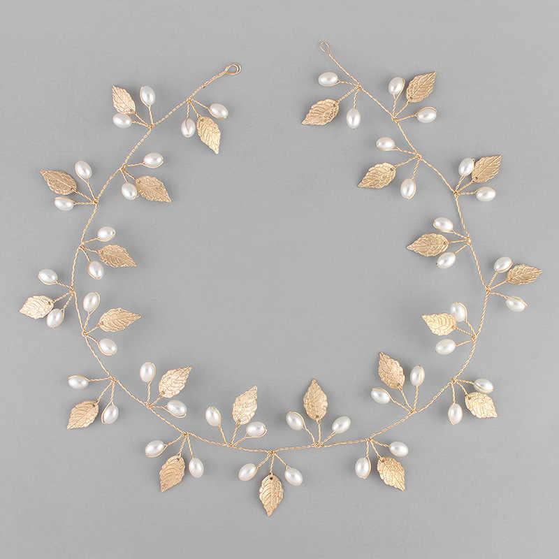SLBRIDAL Великолепный ручной сусальное золото искусственным жемчугом  свадебный цветок Виноградная лоза, украшение для волос Свадебные 9b3a5bdf838
