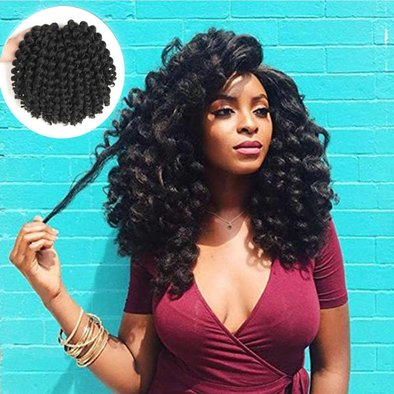 Jamaica rebote pelo Crochet trenzas de Crochet ombré trenzado sintético rizado Crochet Twist extensiones de cabello 8 pulgadas de cabello rubio