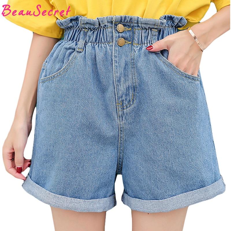 Summer Fashion High Waist Denim   Shorts   Women Pockets Button Cuffs Loose Plus Size   Shorts   Jeans For Women 2018 S~XXL XXXL 4XL 5XL