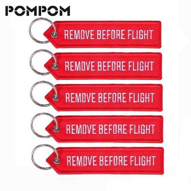 POMPOM 5 pçs/lote Remova Antes do Vôo Chaveiros para Presentes Aviação OEM Bordado Principais Cadeias Cadeia Chaveiro Chave Chaveiro Jóias