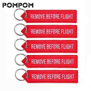 POMPOM 5pcs/lot Remove Before Flight Keychains for Aviation Gifts OEM Key Chains Embroidery Chain Keyring Key Chaveiro Jewelry(China)