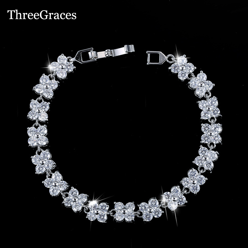ThreeGraces White Gold Color Cubic Zircon Jewelry High Quality 4 Leaf Clover CZ Flower Connected Bracelets For Women BR019