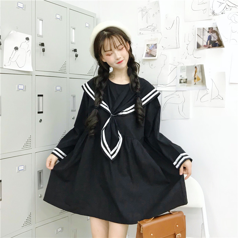 Japanese Mori Girl Women Cute Mini Dress Sailor Collar Black Blue Oversized School Uniform Kawaii Preppy Style Tie Cosplay Dress Платье