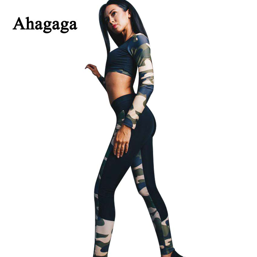 Ahagaga 2017 Summer Fitness Tracksuit Set Women Suit Camouflage Print Women Costume 2 pieces Sexy Tops
