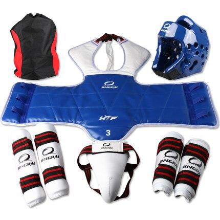 Adult Kids Child Tae kwon do Thickening WTF Taekwondo Protection 6pcs set Chest Protector Karate Helmet