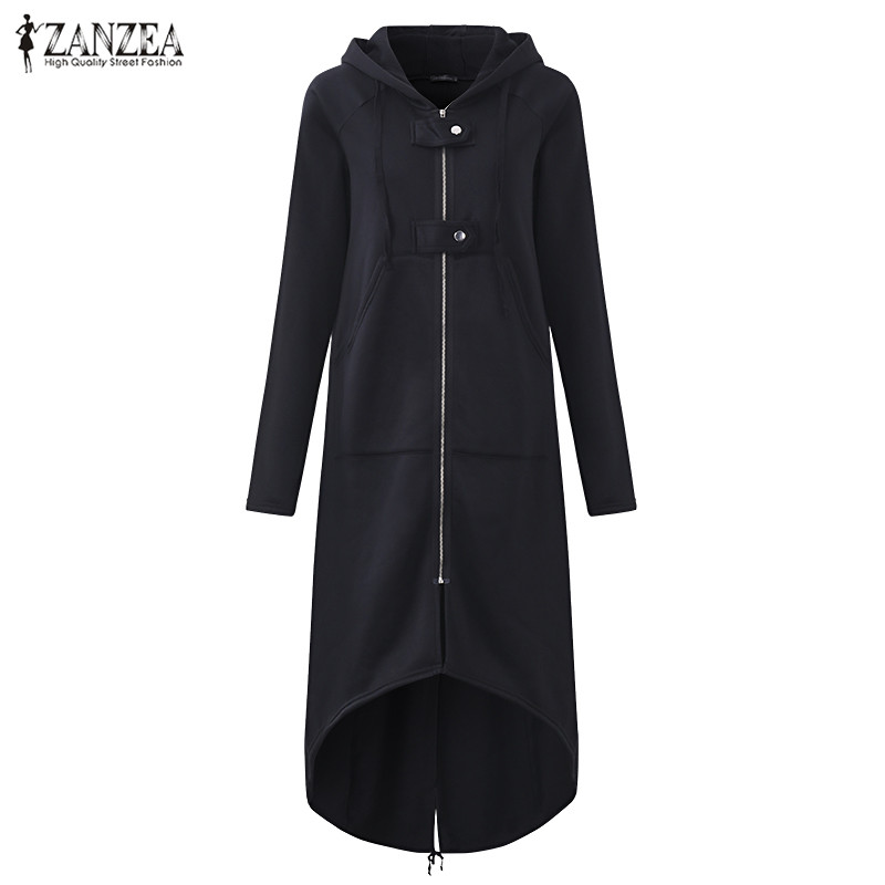ZANZEA Autumn Hooded Long Sleeve Zip Sweatshirt Hoodies Coat Women Solid Long Jacket Irregular Hem Black Outwear Plus Size