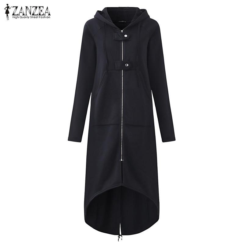 Plus Size 2017 ZANZEA Autumn Hooded Long Sleeve Zip Sweatshi