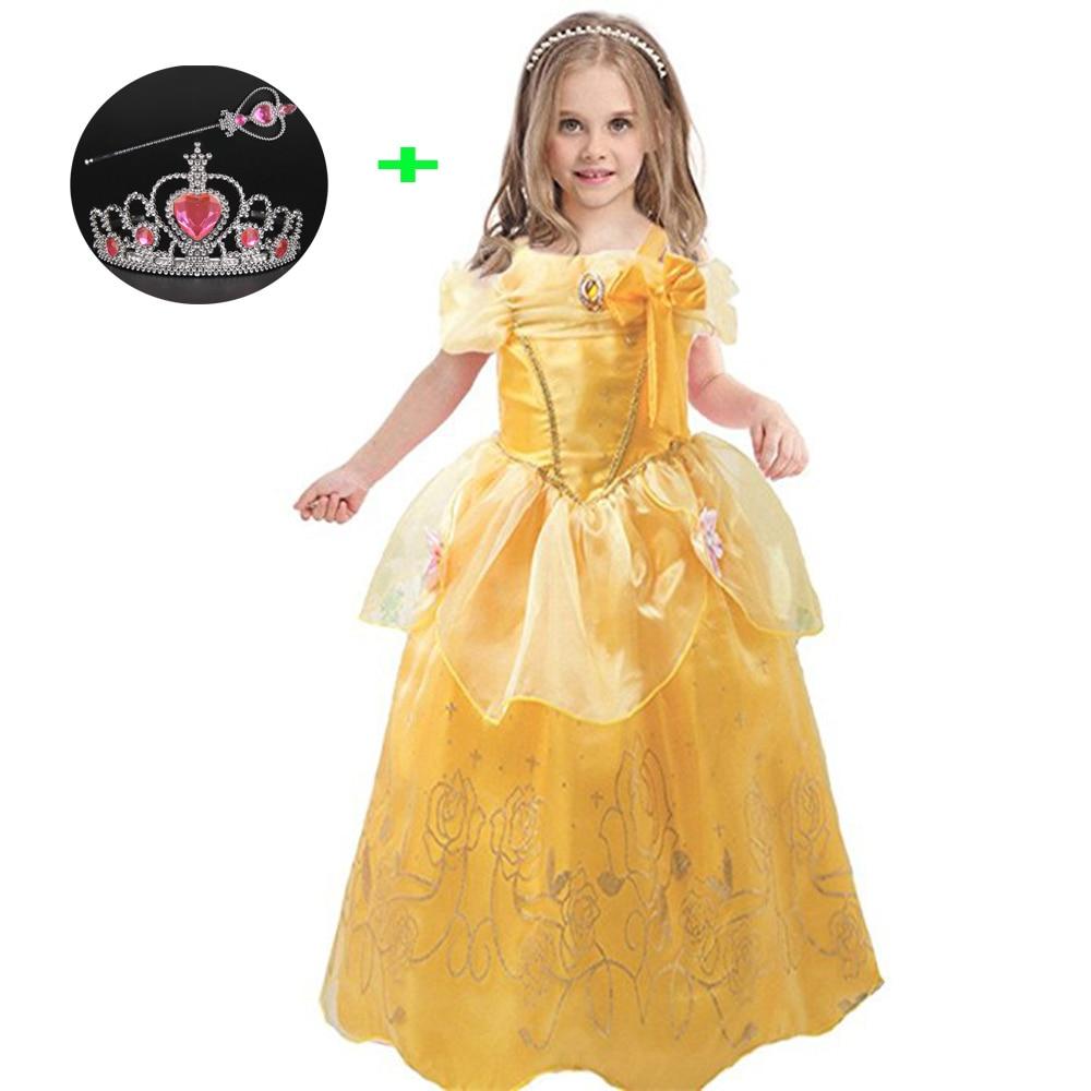 Children Birthday Halloween Clothes for Girls Sofia The First Sleeping Beauty Cinderella Costume Princess Belle Kids