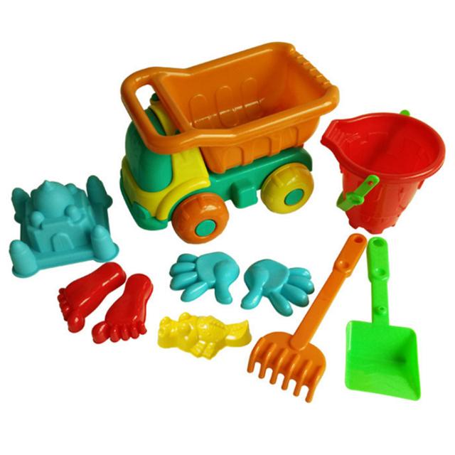 10 Peças Conjunto de Brinquedo Caminhão de Areia Da Praia com Saco de Rede para As Crianças-Cor Aleatória