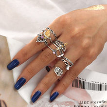 MINHIN Retro Ring Sets für Frauen Anillos Punk Finger Ringe Tibetischen Blume Knuckle Midi Ringe Party Kristall Finger Schmuck(China)