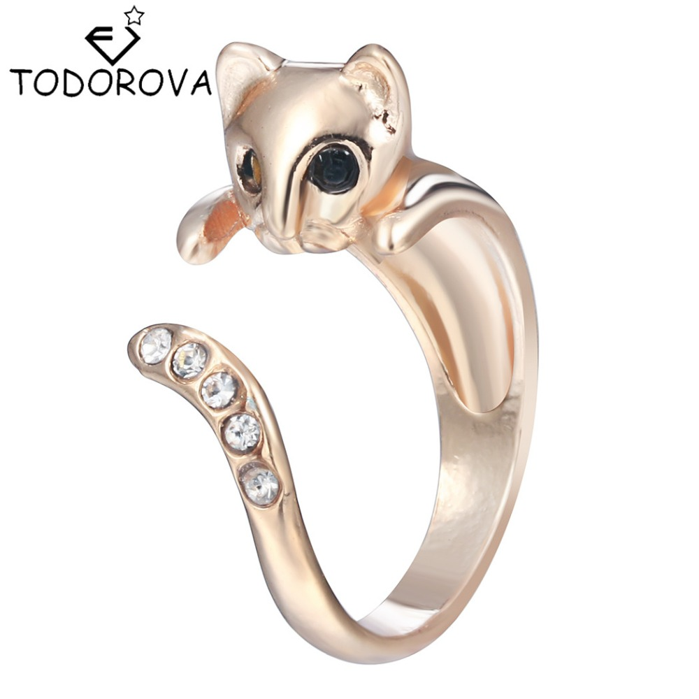 Todorova Fashion Cat Men Ring Cute Animal Open Finger Ring for Women Party Gift Simple Lovely Ring Wedding Band