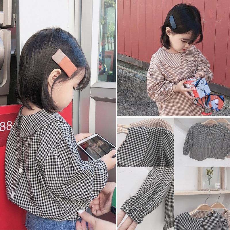 2019 Spring Girls Doll Shirt Children Long Sleeve Plaid Cotton Doll Collar Back Button Top Tees Little Kids Casual Blouse