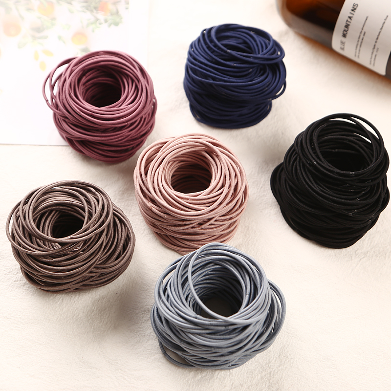 2018 New Fashion 100pcs/lot 5CM Size Thin Elastic Rubber Bands Korean Style Basic Girl Women Headwear Hair Accessories Tie Gum