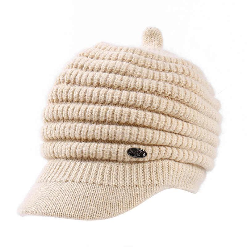 모자 여성 가을과 겨울 한국어 토끼 모피 모자 플러스 벨벳 두꺼운 따뜻한 조수 모자 솔리드 컬러 귀고리 모자 니트 스웨터 모자