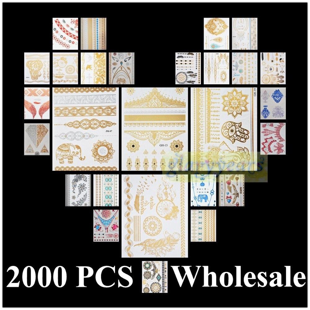 [ Glaryyears ] 2000pcs Wholesale Bulk Order Free DHL Gold Silver White Black Henna 3D Metallic Temporary Flash Tattoo Waterproof