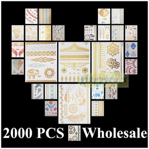 Image 1 - [Glaryyears] 2000 قطع الجملة طلب بالجملة الشحن DHL الذهب الفضة أبيض أسود الحناء 3D معدنية المؤقتة فلاش الوشم للماء