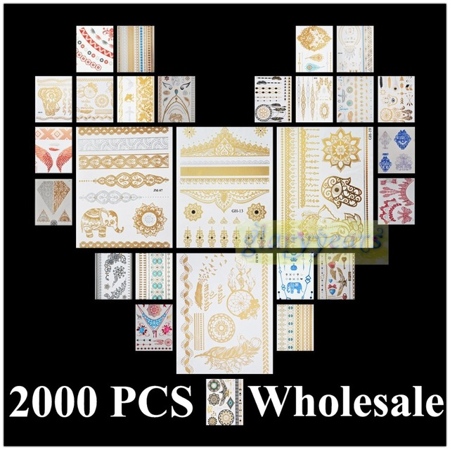 [ glaryyears ] 2000pcs Wholesale Bulk Order Free DHL Gold Silver White Black Henna 3D Metallic Temporary Flash Tattoo Waterproof