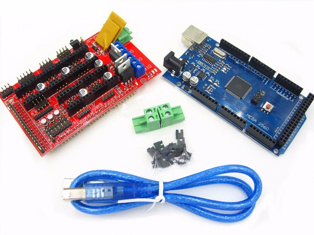 Mega 2560 R3 Mega2560 REV3 + 1pcs RAMPS 1.4 Controller for 3D Printer kit Reprap MendelPrusa mega 2560 r3 rev3 atmega2560 16au совет кабель usb совместимый для arduino