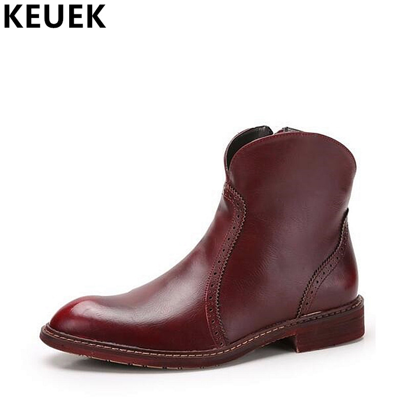 British Style Men's Chelsea Boots Genuine Leather Martin Boots Spring Autumn Men Ankle Boots Pointed Toe Leather boots 061