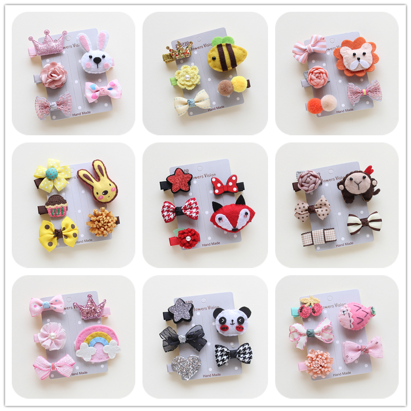 5p/set Korean Fashion Animal Fruit Shape Hair Clip Cute Cartoon Hairpins Tiger Monkey Fish Bowknot Design Hair Accessories 100% Guarantee Mother & Kids