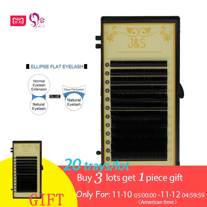 J S 20trays mix length Ellipse Flat False Eyelash Extensions Soft 0 15mm 0 20mm Flat