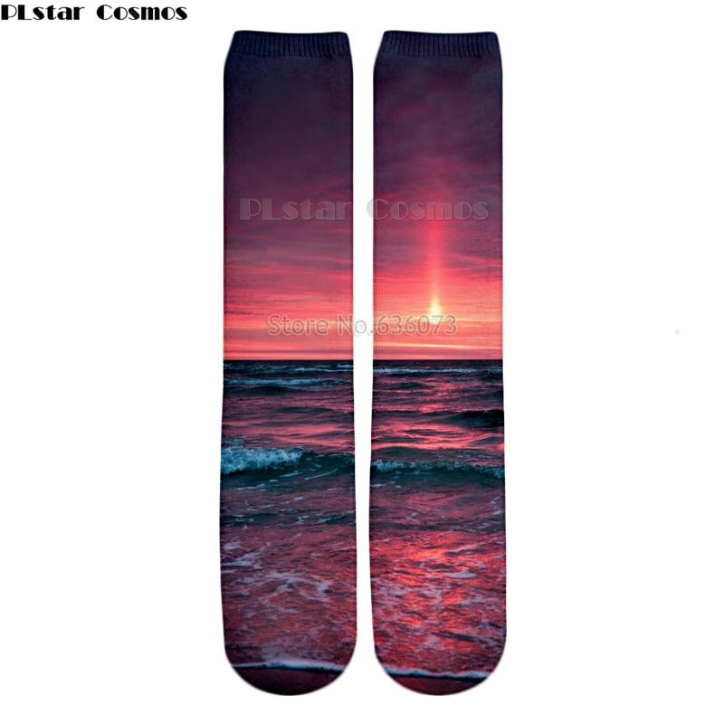 PLstar Cosmos 2018 New style Fashion Knee High Socks pinkish sunset / sunset clouds guam Nature Print 3d Men's Women's Sock 1