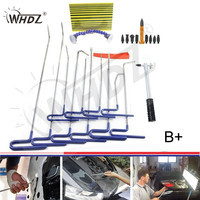 WHDZ Dent Removal Pdr Rod Tool Kit Hail and Door Ding Repair Starter with Dent Hail Hammer Aluminum Knock Down Screw on Heads