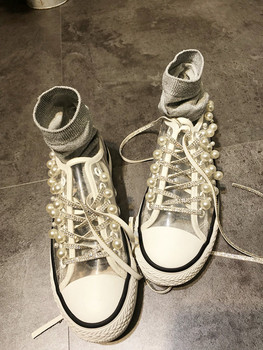 Self-made original innovative heavy industry nail pearl Thai Chaozhou shoes canvas shoes pearl transparent 100-fold single shoes