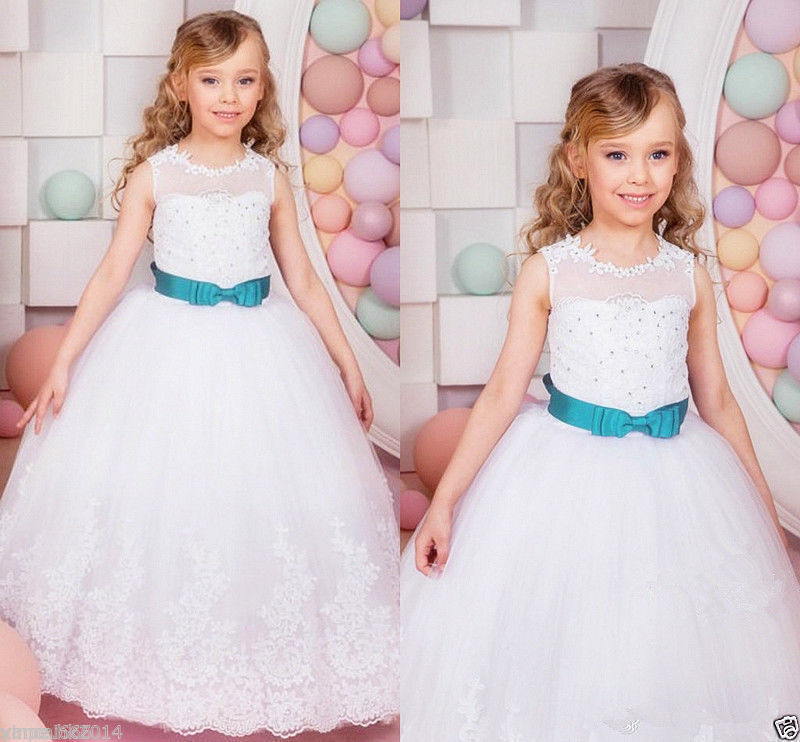 Lace Baby Princess Flower Girl Dresses Pageant Bridesmaid Wedding Party Gown HOT girls clothes 2017 new flower embroidery girl dresses pageant party wedding bridesmaid ball gown prom princess long dress girl clothes