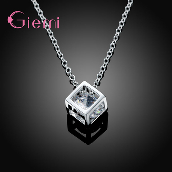 Delicate 925 Sterling Silver Jewelry With Cubic Zirconia Square Pendant Necklace Women Anniversary Lovely Gifts 1