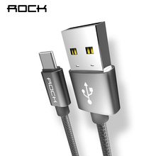 ROCK USB Type C Cable 2A For Xiaomi Samsung S8 Note 8 2A Fast Charging Type-C Metal Nylon Braid Charger