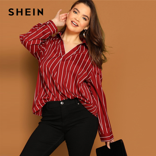 9a5bb74e883 SHEIN Plus Size Burgundy V Neck Striped Long Satin Pleated Back Casual Shirt  Blouse Women Spring