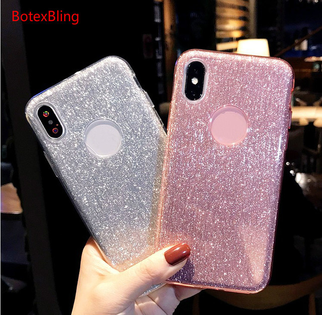 For Iphone Xs Max Case Simple Glitter Rose Gold Tpu Pc Case For