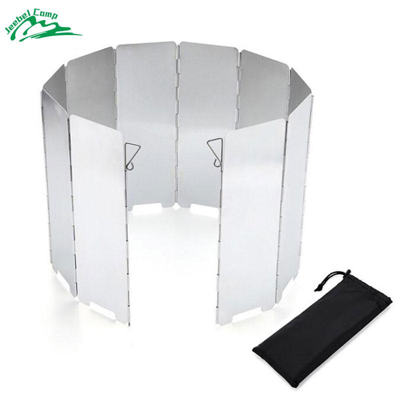Jeebel Windscreen 10 Plates Outdoor Aluminum Folding Stove Windscreen Camp Stove Windshield Camping Backpacking Foldable