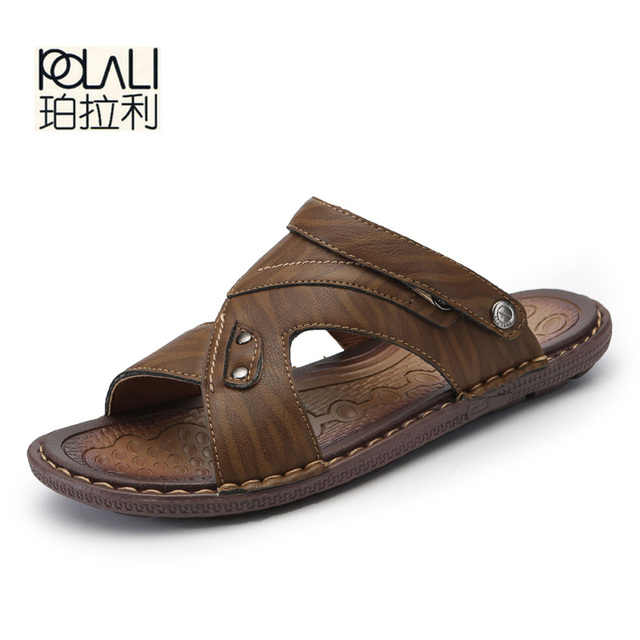 4592808683250 POLALI Men's Casual Shoes Fashion Sandals Summer Men's Slippers Leather  Shoes Beach Breathable Home Slippers Flip-Flops Zapatos