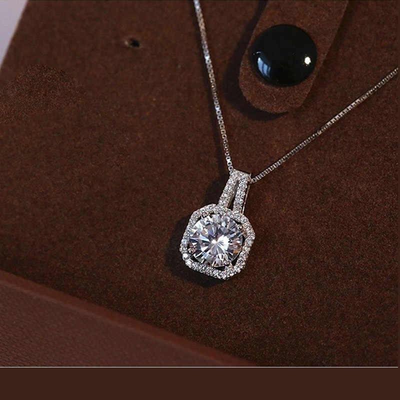 Asli 925 Sterling Silver Super Bersinar Desain Persegi Kubik Zircon Liontin Kalung untuk Wanita Bridal Pernikahan Perhiasan