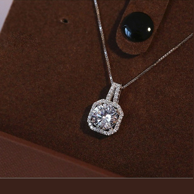 Genuine 925 Sterling Silver Super Shining Square Design Cubic Zircon Pendant Necklaces For Women Bridal Wedding Jewelry 5