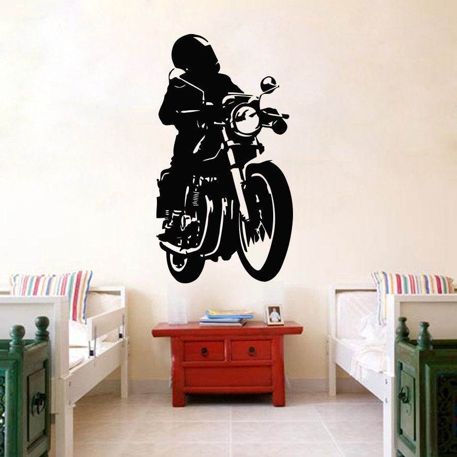 Art Vinyl Sticker Motorcycle Motorbike Biker Club Mural Boys Childrens Room Wall Sticker DIY Vinyl Kids Room Decoration M-96