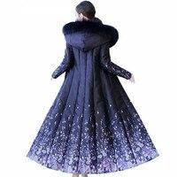 Luxury Big Fur Collar Blue Down Jacket Winter Fashion Stitching Print Hooded Coat Temperament Slim Thicke Warm Cotton Outerwear