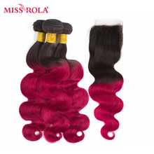 Miss Rola Hair Pre-colord Indian Body Wave Hair Weaving 3 Bundles With Closure #T1B/BUG Color  Human Non-Remy Hair Extension