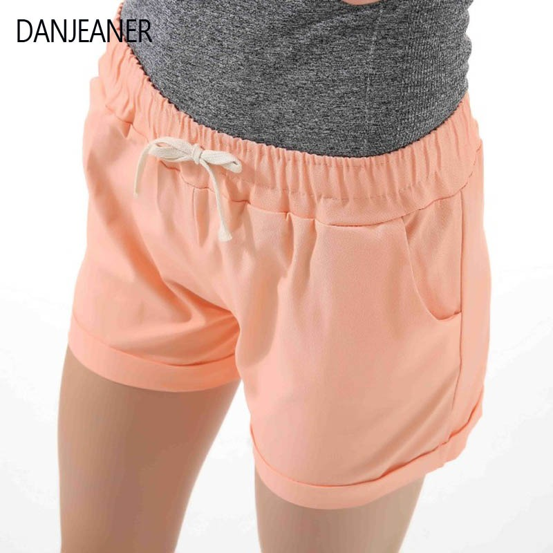 dbf89c092 Danjeaner Summer Casual Loose Solid Cotton Shorts Women Fashion Lace Up  Sport Shorts High Waist Wide