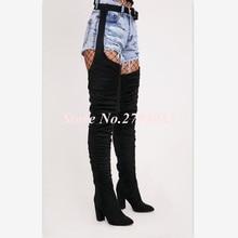 Fashion Black Suede Thigh High Boots Women Chic Pointed Toe Square Heel Ladies Booties Waist Belt Strap Buckle Shoes Woman Botas цена в Москве и Питере