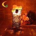 Lámpara de noche dormitorio creativo genuino noche luz regulable sal de hierro lámpara de mesa de cristal 110 V-220 V e17