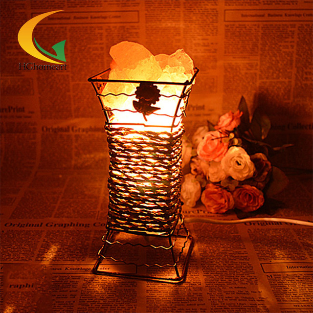 genuine creative bedroom bedside lamp night light dimmable iron salt crystal 110V-220V e17 table lamp