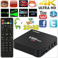 5Pcs Android TV Box V88 Plus 2GB RAM 8GB ROM 4K Resolution 3D Movie Support Android