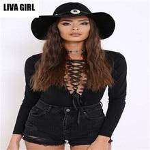 liva girl Spring sexy deeply V-neck tight camisole women neckerchief jumpsuits women sexy bodysuits