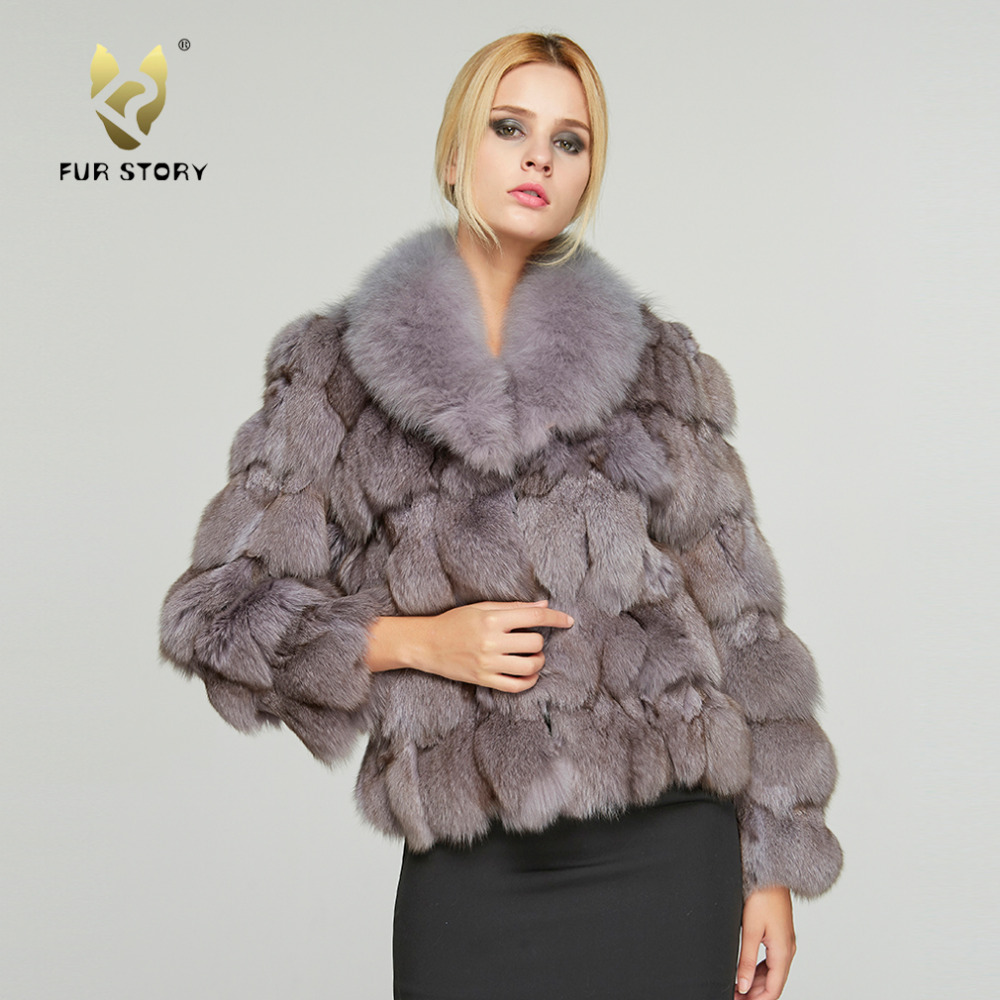 Women s Real Fox Fur Coat Luxury Big Fox Fur Collar Solid Casual Winter Thick Warm