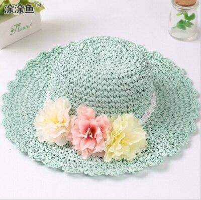 Модная летняя стильная цветная Цветочная широкополая пляжная шляпа с широкими полями для маленьких девочек, соломенная шляпа от солнца, 9 цветов - Цвет: Зеленый