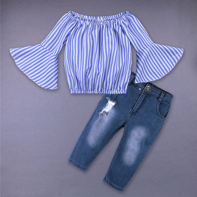 Fashion Toddler Girls Clothing Sets Summer Baby Girls Clothes 2018 Kids Striped Shirt Jeans Suits 2Pcs Children